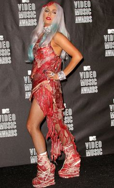 the famous Gaga & her meat dress.