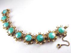 Signed Weiss Bracelet Unusual Peking Green Glass by hipcricket