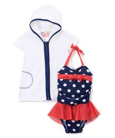 $6.99 marked down from $44! Navy Dotty Twin One-Piece & White Hooded Cover-Up - Infant & Kids #zulilyfinds