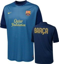 Barcelona Blue Pre Match Top 2012-13 by Nike. $48.37. This is the Barcelona Blue Pre Match Top 2012-13, the front of the top features light and navy blue horizontal stripes with printed Nike branding, Qatar Foundation sponsor and Barcelona Badge. The back of the pre match top is an all blue mesh material with a large printed Barca graphic in yellow. Dri-fit material ensures this pre match top is comfortable to wear as well a high performance product, there is a ...
