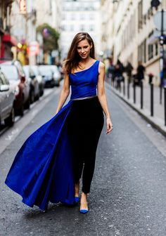 Alexandra Lapp wearing Blue taffeta and leather top from Pearl and Rubies with a skin barring asymmetric oneshoulder Silhouette Black pants from. Silhouette Blog, German Fashion, One Shoulder Tops, Western Dresses, Minimal Fashion, Street Chic, Fashion Pictures, My Favorite Color, Passion For Fashion