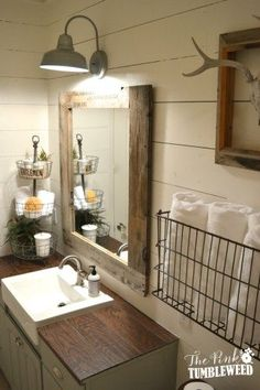 Farmhouse Bathroom with wood-look tile as countertop surface.