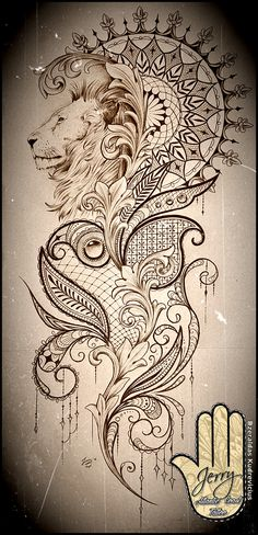 Blend of art deco and madella  Beautiful lion mandala and lace tattoo idea design, mendi patterns and filigree. By Dzeraldas Kudrevicius Atlantic Coast Tattoo Cornwall
