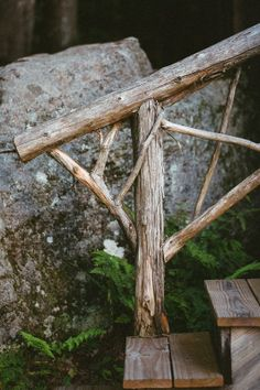 rustic twig railing + simple wooden steps | exterior stairs + architectural details
