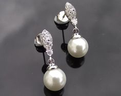 Wedding Earrings - Drop Pearl And Crystal Wedding Earrings, Rochelle