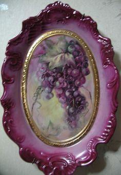 Beautiful Purplish Vintage Painted Grapes Platter