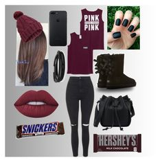 """""""Untitled #234"""" by april262005-paris ❤ liked on Polyvore featuring Topshop, Victoria's Secret, UGG Australia, Lime Crime, BillyTheTree, Miss Selfridge and Hershey's"""