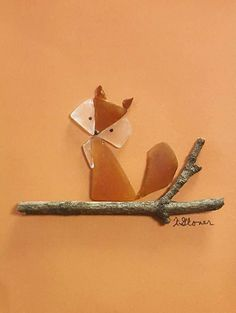 Sea glass fox on driftwood log. Choose black or white 5 X 7 shadowbox frame. Eac… Sea glass fox on driftwood log. Choose black or white 5 X 7 shadowbox frame. Each item is handmade using genuine unaltered sea glass,… Continue Reading → Sea Glass Crafts, Sea Glass Art, Stained Glass Art, Sea Glass Jewelry, Fused Glass, Silver Jewelry, Shell Crafts, Blown Glass, Gold Jewellery