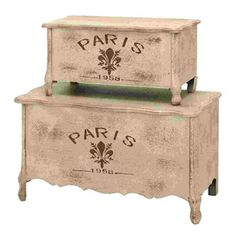UMA Enterprises Set of 2 Rectangular Paris Storage Boxes
