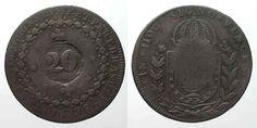 1835 Brasilien BRAZIL 20 Reis ND(1835) on 40 Reis 1823 R PEDRO I copper VF #…