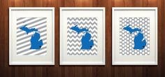 Detroit Michigan State Giclée Set of Three Prints  by PaintedPost, $37.00 #paintedpoststudio - Detroit Lions - NFL- What a great and memorable gift for graduation, sorority, hostess, and best friend gifts! Also perfect for dorm decor! :)