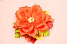 Handmade Orange Autumn Clip with Kanzashi Flower by olynatta