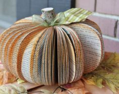 Pumpkin made with book pages!