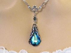 Victorian Crystal Blue Bridesmaids Necklace: Romantic Royal Blue Swarovski Crystal Bridal Necklace Blue Wedding Jewelry Bridesmaids Gift