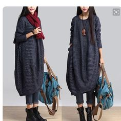 Such a cool look from Scarf, big totebag, leggings turned up and industrial looking boots. Dress bought from etsy.com but you can achieve this look with many loose fitting dresses or tunics. Keep trying new looks to keep your style fresh and up to date. Fake it till you make it!!!