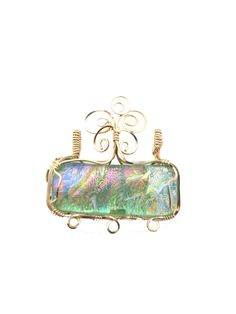 Wire wrapped Dichroic fused glass pendant or necklace, 14 K gold filled wire, multi color by LindysLane on Etsy    SOLD, SOLD,SOLD