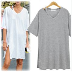 New 2017 Summer T Shirt Women Harajuku American Apparel Short Sleeve Split Women Tops Long Female T-shirts For Women