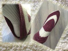 VIrkatusta neliöstä tehdyt tossut Socks, Diy And Crafts, Slippers, Crochet, Fashion, Moda, Fashion Styles, Sock, Slipper