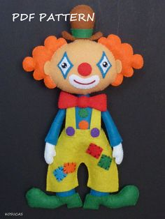 PDF pattern to make a felt clown. por Kosucas en Etsy