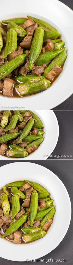 This is a simple recipe for Adobong Okra with Pork. This recipe was requested by one of our readers. She goes by the name of Lady Red. Filipino Vegetable Recipes, Filipino Recipes, Asian Recipes, Asian Foods, Vietnamese Recipes, Okra Recipes, Veggie Recipes, Cooking Recipes, Healthy Recipes