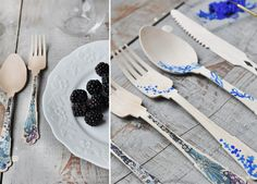 diy painted cutlery. this could be cute for the engagement party. just simple patterns on that bamboo throw away type cutlery