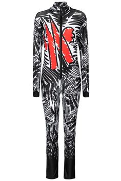 This ski suit is from 3 MONCLER GRENOBLE by Sandro Mandrino, the latest installment of the Moncler Genius project. Made from a lightweight technical fabric with plenty of stretch for an optimal fit, it has a high neck and zipped front. We love the graffiti print that extends from top to toe, especially the red M emblem. #mytheresa #monclergenius #monclergrenoble #monclerskisuit #designskioutfit #monclerskioutfit Graffiti Prints, Ski Wear, Top To Toe, Moncler, Slim Legs, Sandro, Designer Wear, Skiing, Suits