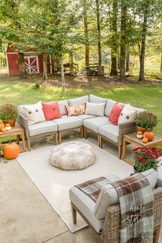 fall decor ideas Affordable Fall Decor: 6 Tips for Southern Outdoor Patio Decorating and Fall Ent. Affordable Fall Decor: 6 Tips for Southern Outdoor Patio Decorating and Fall Entertaining Outdoor Seating Areas, Outdoor Spaces, Outdoor Patios, Outdoor Kitchens, Outdoor Landscaping, Landscaping Ideas, Porches, Patio Decorating Ideas On A Budget, Patio Ideas