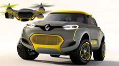 """At the Dehli Auto Expo (DAO) Renault Asia-Pacific (RAP) unveiled their concept mini-SUV named Kwid """"which features a controllable quadrocopter drone that flies out of the roof. Drones, Drone Quadcopter, Tata Nano, Crossover, Nissan, Dacia Duster, Buggy, Small Cars, Car And Driver"""