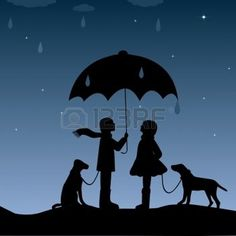 umbrella silhouette: Kids with an umbrella