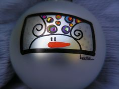 Snowman.......Whimsical Hand Painted Ornament. $17.95, via Etsy.