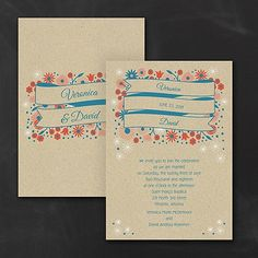 Floral Banners Wedding Invitation 40% OFF     http://mediaplus.carlsoncraft.com/Wedding/Wedding-Invitations/3254-TWS34805-Floral-Banners--Invitation.pro     TWS34805 Banners and flowers and stars - oh, my! The vintage design on this kraft wedding invitation gets custom with your choice of ink colors.