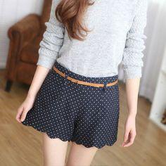 High Waistline Korea Style Wavy Edge Polka Dot Print Slimming Women's Shorts(With Random Belt)Vintage Shorts | RoseGal.com