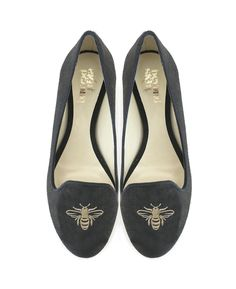 Bee black bee design embroidered vegan slipper court shoe made from synthetic faux suede 100% Vegan, vegetarian and cruelty-free.