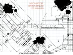Blueprints. Mechanical construction. Technical Design. Cover. Banner. Draft. Black Ink. Blots  #bubushonok #art #bubushonokart #design #vector #shutterstock  #technical #engineering #drawing #blueprint   #technology #mechanism #draw #industry #construction #cad