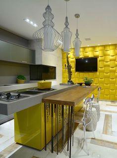 60 Cozinhas Amarelas Decoradas Lindas e Inspiradoras #cozinha #textura #parede #amarelo