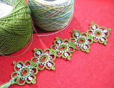 This is Gloria's Maltese Bookmark pattern by Martha Ess.  The thread used is Lisbeth 684 for the solid and Lizbeth 109 for the multi-coloured, both in size 40.