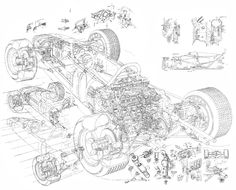 1965 Honda RA272 Formula 1 line construction artwork for cutaway by Yoshiro Inomoto