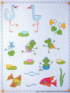Graph Paper Drawings, Graph Paper Art, Drawing Lessons, Art Lessons, Graph Paper Notebook, Goal Journal, Baby Drawing, Cross Stitch Love, Doodle Designs