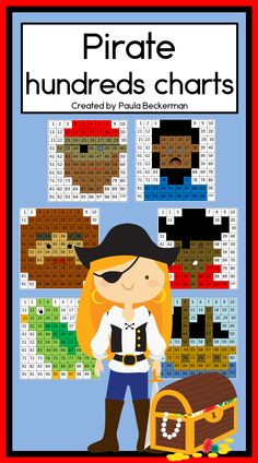Ahoy matey, these hundreds charts are a fun math resource for kindergarten and first grade students.  Best of all, they need NO PREP, simply print and teach!  TpT$