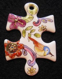 Handpainted by Sol Brien 🇨🇦 on 0018 - Puzzle by Bijoux de Passy Puzzle Piece Crafts, Puzzle Pieces, Puzzles, Homemade Jewelry, Altered Art, Nativity, Christmas Crafts, Creations, Hobby Ideas