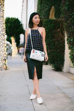 honey n silk blogger halter top grid slit skirt