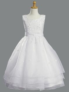 First Communion Dress with Embroidered Organza & Pearls from Dressy Days (12, White)