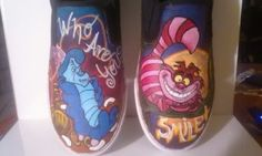SALE Custom Alice In Wonderland Cheshire Cat and Hookah Smoking Caterpillar Vans Converse Toms Shoes on Wanelo