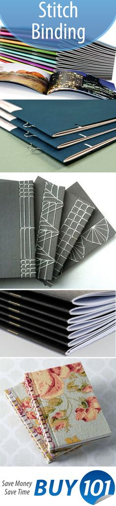 A collection of clean saddle stitched booklets and magazines, as well as sewn books. Looking to saddle stitch? Check out http://www.binding101.com/saddle-stitching-booklet-making