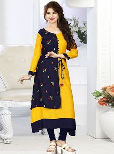 Buy Yellow Rayon Readymade Kurti 124626 online at lowest price from our mens indo western collection at m.indianclothstore.c. Salwar Designs, Kurti Designs Party Wear, Blouse Designs, Stylish Dress Designs, Designs For Dresses, Kurti Patterns, Dress Patterns, Dress Brokat Muslim, Kurtha Designs