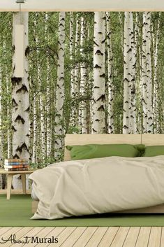 Birch tree forest wall mural, as seen in this bedroom, creates an organic feeling on walls. The green birch wallpaper features tall majestic trees that looks great in a bedroom, nursery, living room or office. The removable wallpaper is easy to hang and eco-friendly! Birch Tree Mural, Birch Tree Wallpaper, Forest Wallpaper, Tree Forest, Green Trees, Home Office Design, Wall Murals, Eco Friendly, Walls