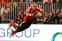 The Crusaders' Nemani Nadolo dives over to score a try