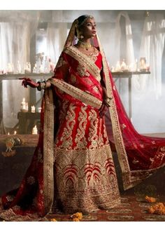 Ethnic Wear Red Velvet Lehnega Choli - 72703