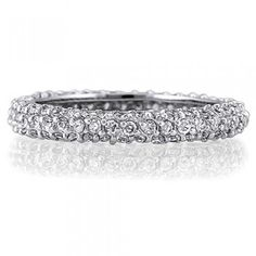 Sterling Silver 3-Row Round Cubic Zirconia CZ Accent Eternity Ring #r109