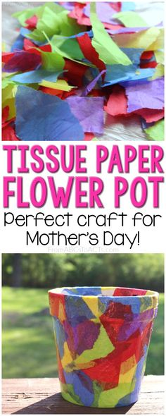 moms love flowers and this kid made one of a kind tissue paper flower